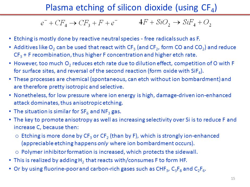Plasma etching of silicon dioxide (using CF4)