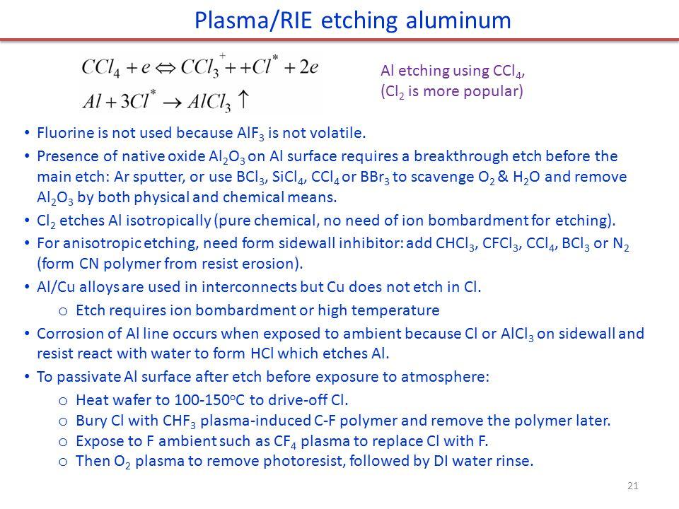 Plasma/RIE etching aluminum