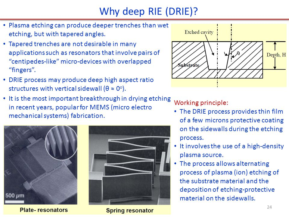 Why deep RIE (DRIE) Plasma etching can produce deeper trenches than wet etching, but with tapered angles.