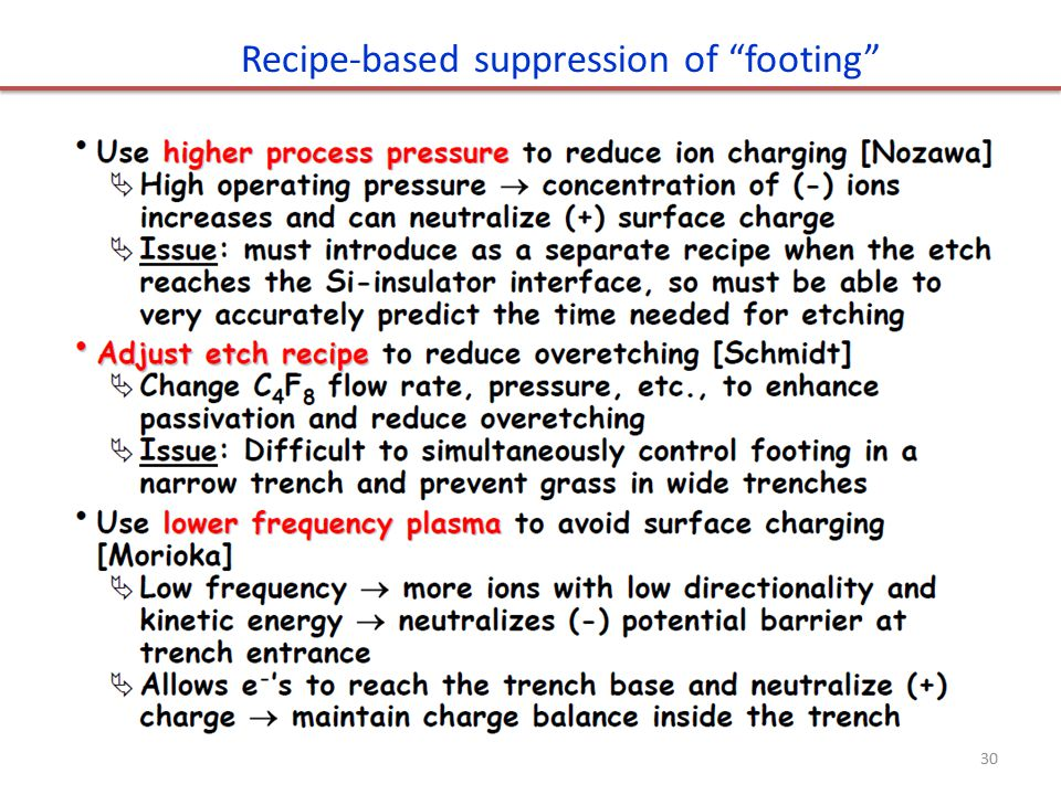Recipe-based suppression of footing