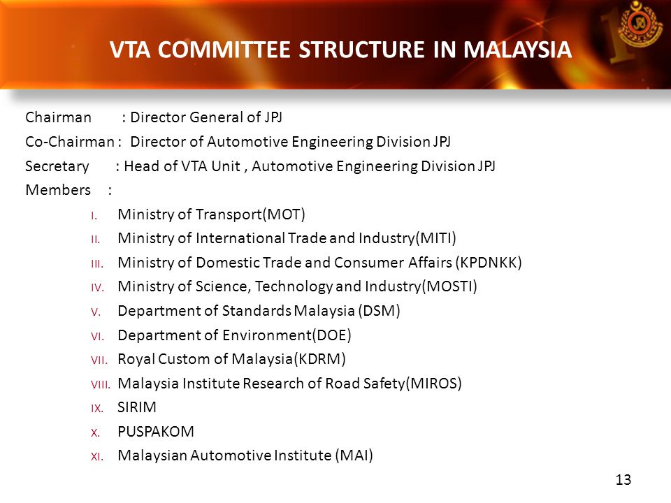 VTA COMMITTEE STRUCTURE IN MALAYSIA