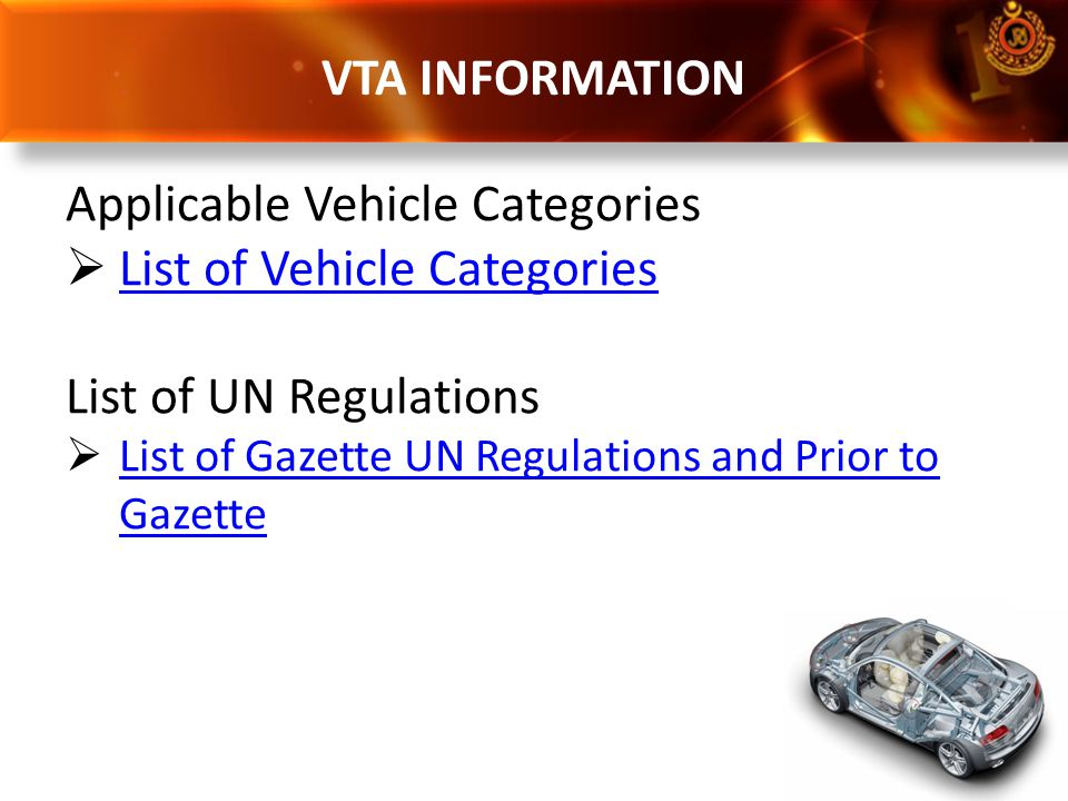 Applicable Vehicle Categories List of Vehicle Categories