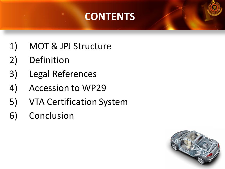 CONTENTS MOT & JPJ Structure Definition Legal References