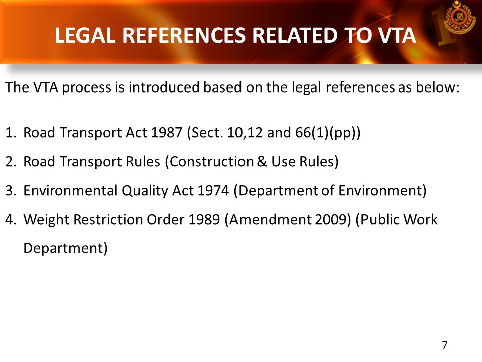 LEGAL REFERENCES RELATED TO VTA