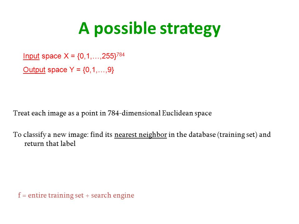 A possible strategy Input space X = {0,1,…,255}784