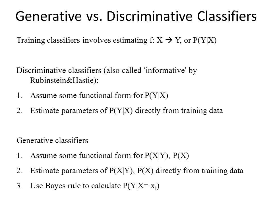 Generative vs. Discriminative Classifiers