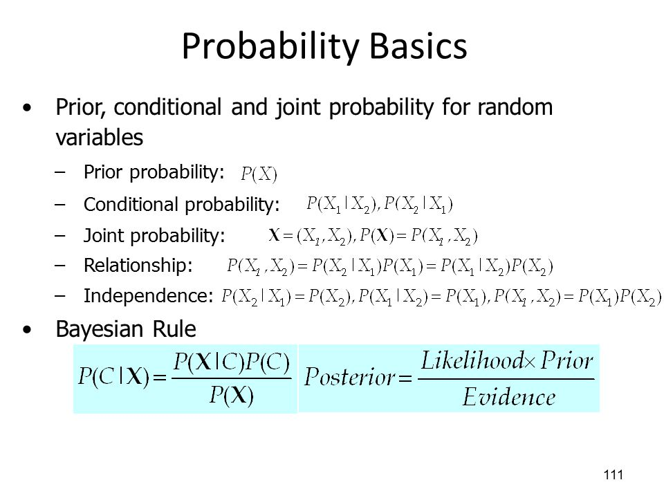 Probability Basics Prior, conditional and joint probability for random variables. Prior probability: