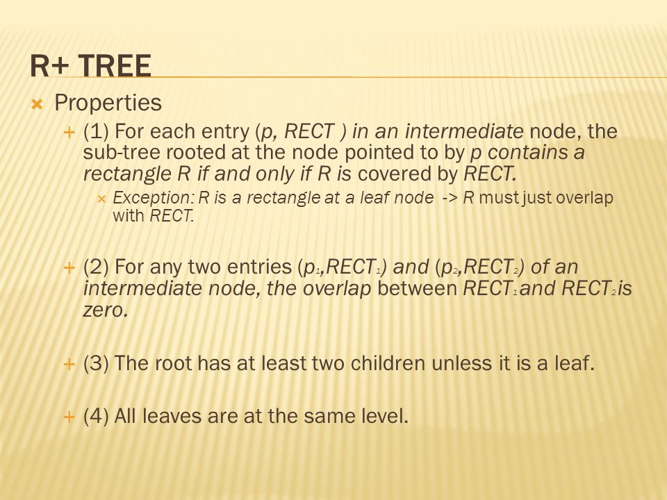 R+ tree Properties.