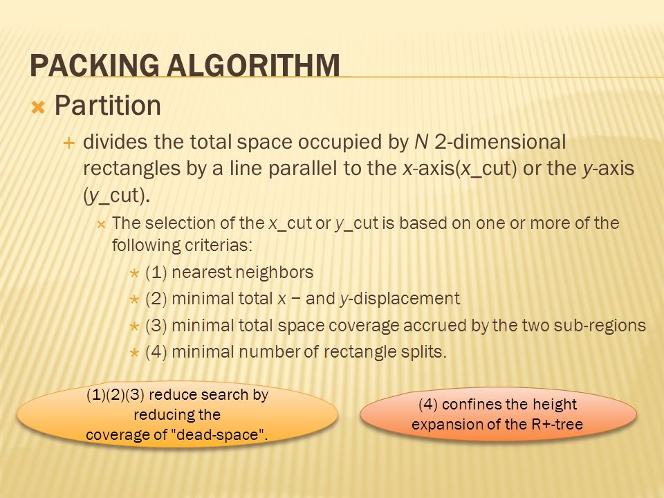 Packing Algorithm Partition