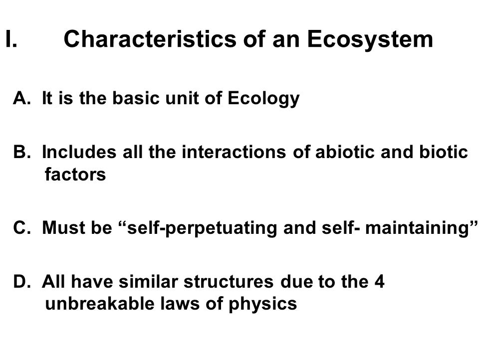 Characteristics of an Ecosystem