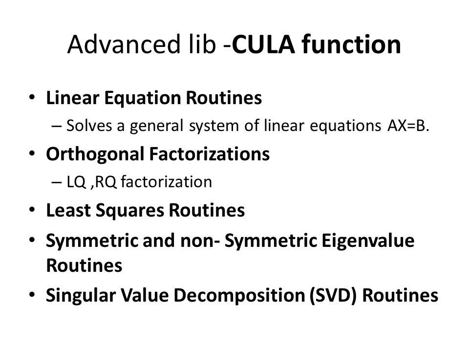 Advanced lib -CULA function