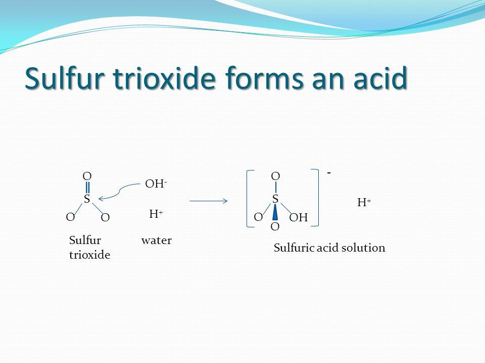 Sulfur trioxide forms an acid