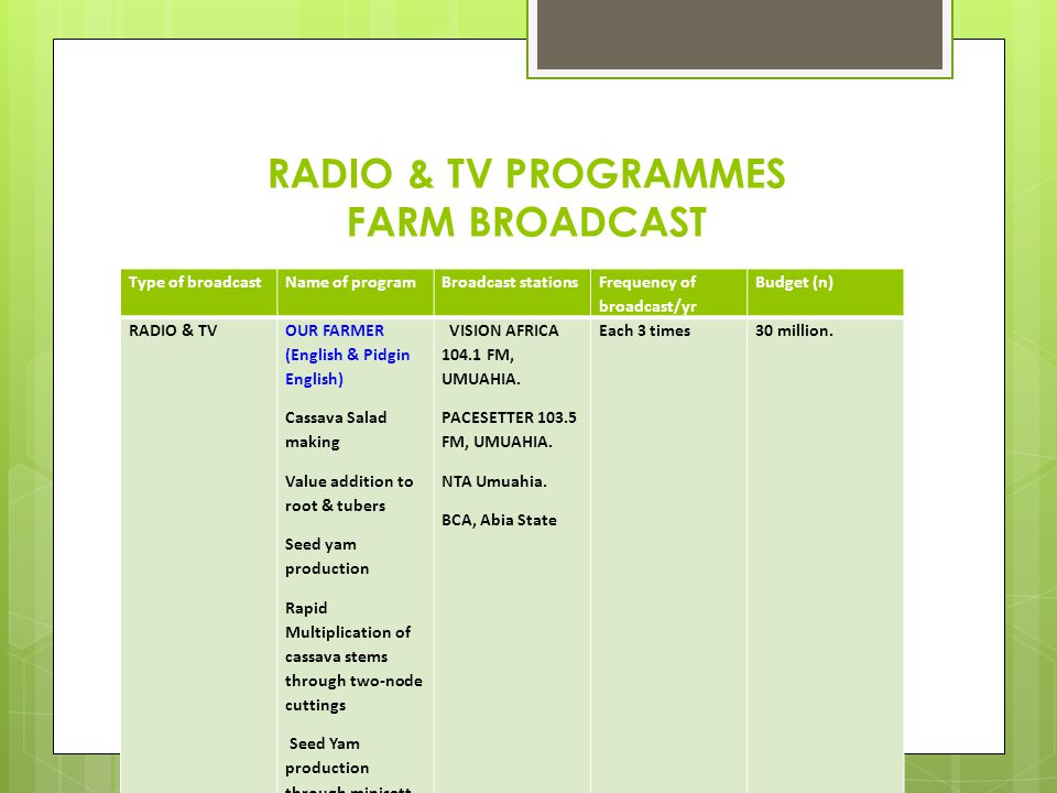 RADIO & TV PROGRAMMES FARM BROADCAST