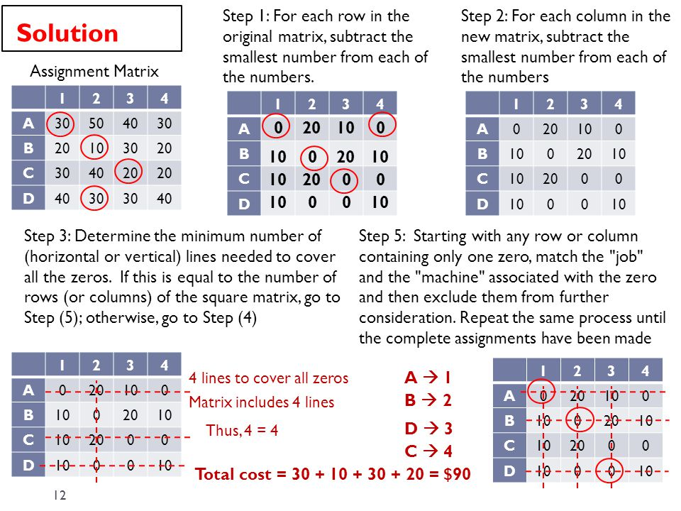 Step 1: For each row in the original matrix, subtract the smallest number from each of the numbers.