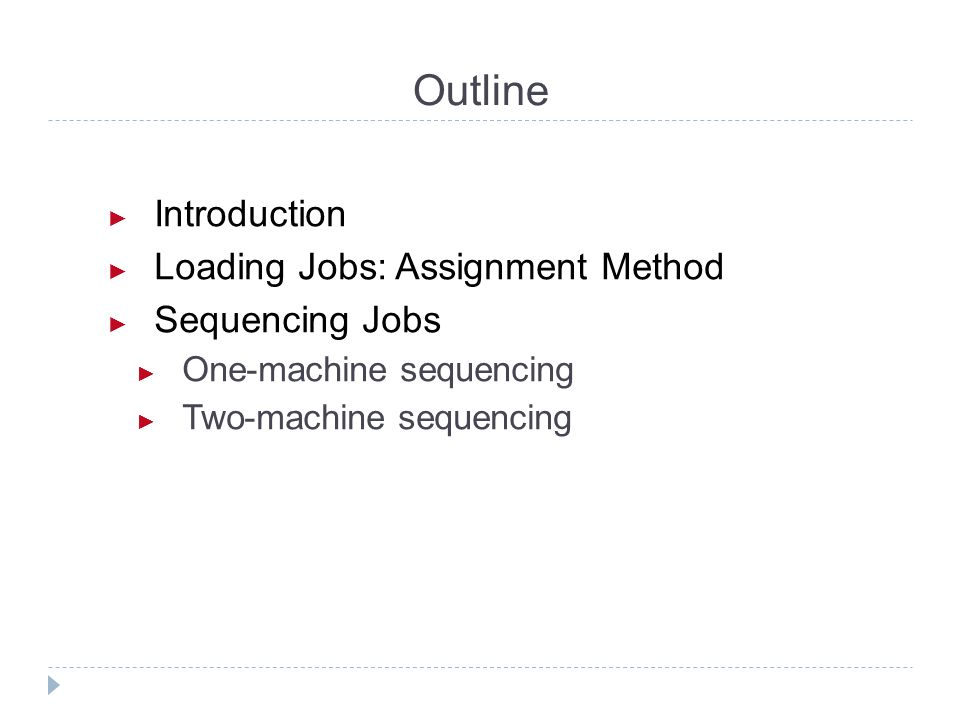 Outline Introduction Loading Jobs: Assignment Method Sequencing Jobs