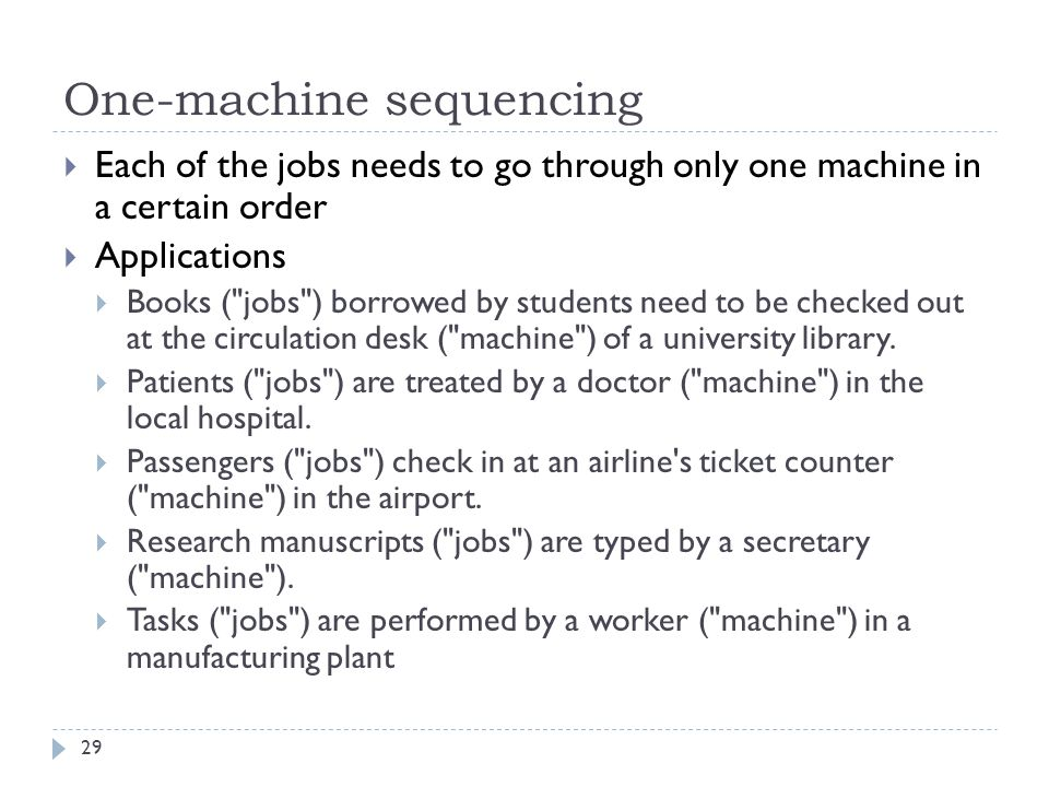 One-machine sequencing