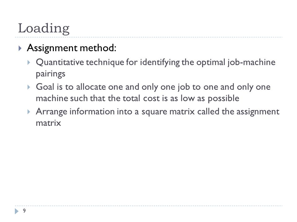 Loading Assignment method: