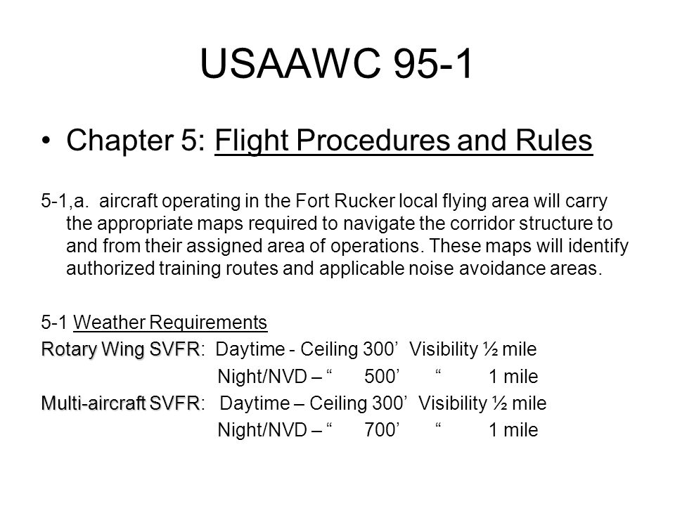 USAAWC 95-1 Chapter 5: Flight Procedures and Rules