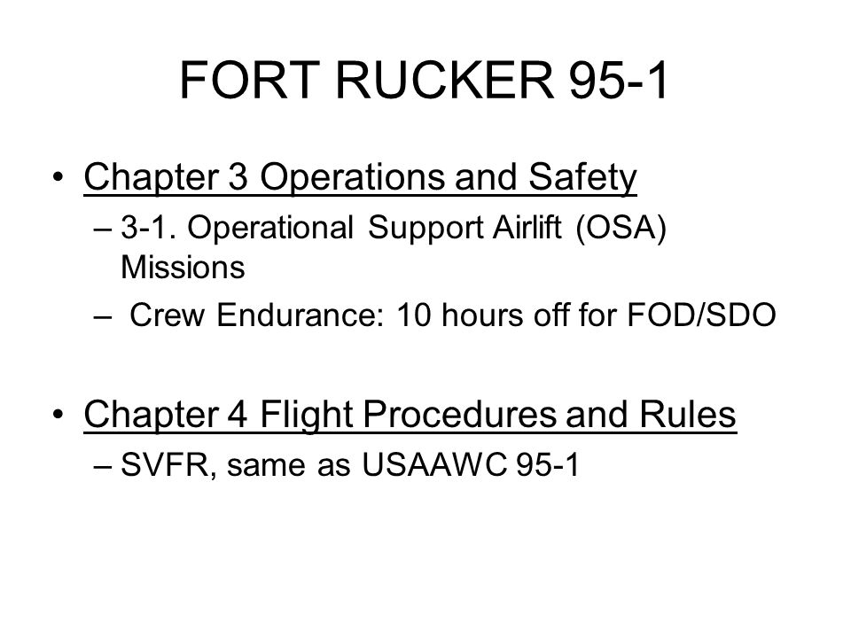 FORT RUCKER 95-1 Chapter 3 Operations and Safety