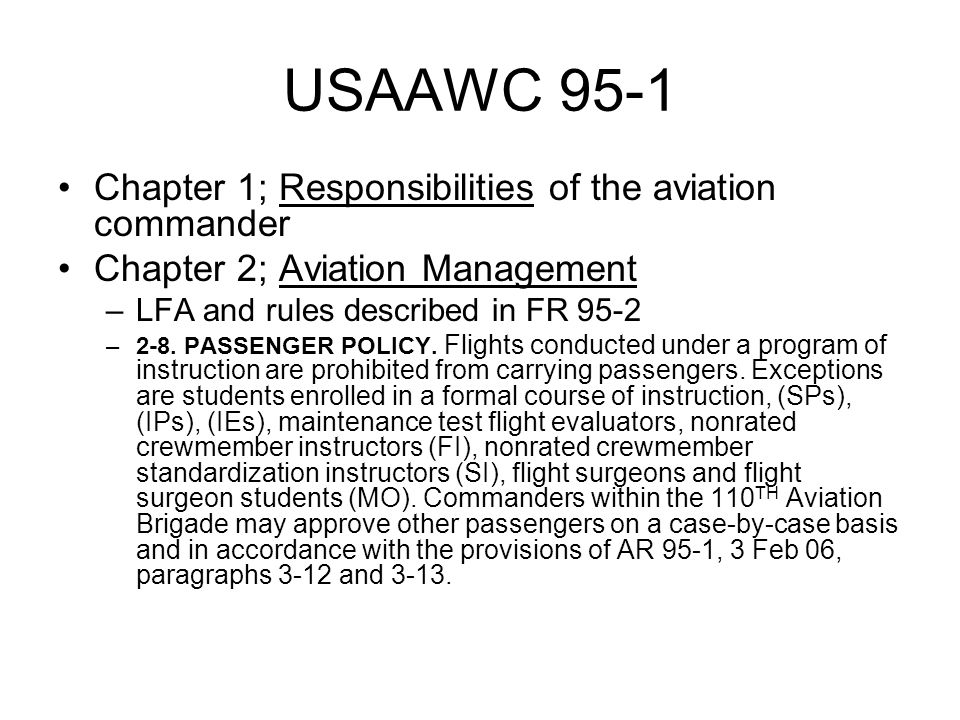 USAAWC 95-1 Chapter 1; Responsibilities of the aviation commander
