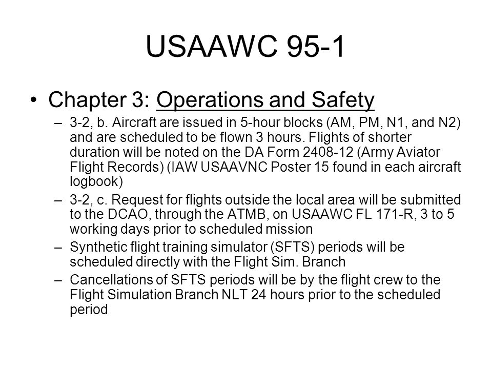USAAWC 95-1 Chapter 3: Operations and Safety