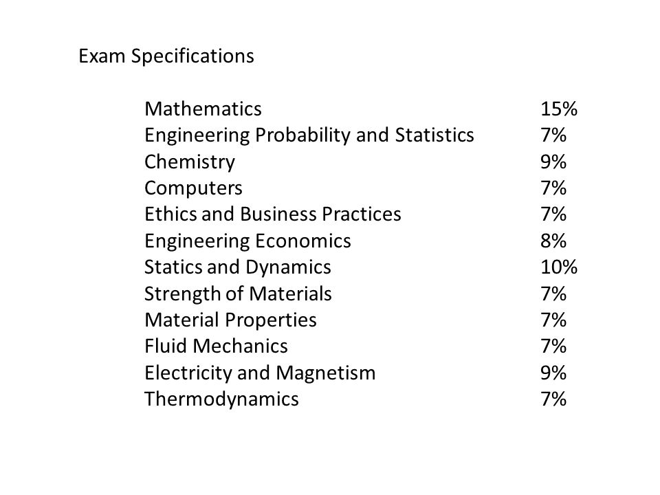 Exam Specifications Mathematics 15% Engineering Probability and Statistics 7% Chemistry 9%