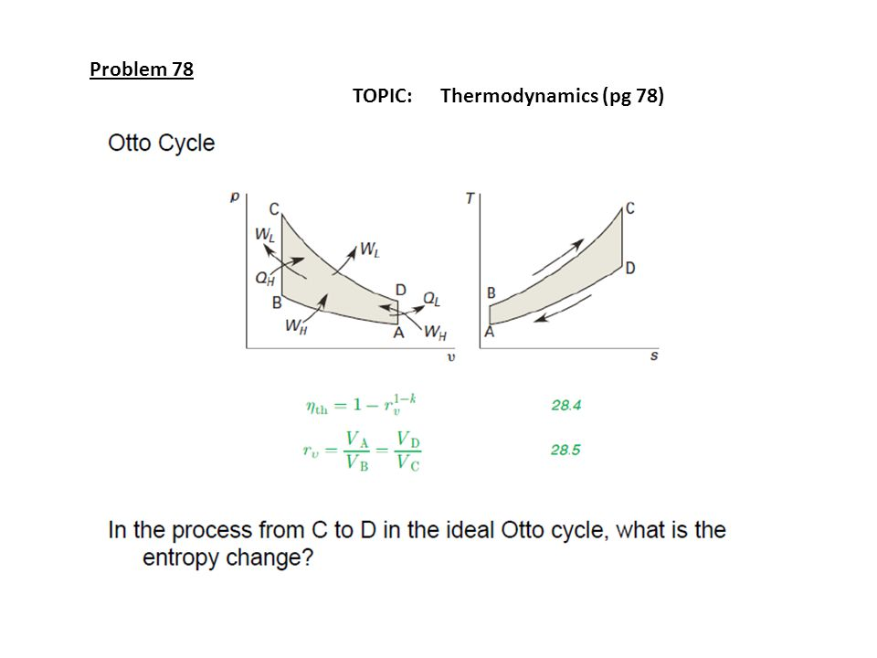 Problem 78 TOPIC: Thermodynamics (pg 78)