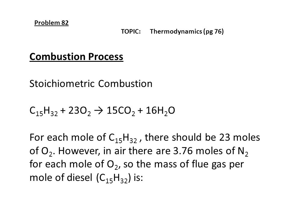 Stoichiometric Combustion C15H32 + 23O2 → 15CO2 + 16H2O