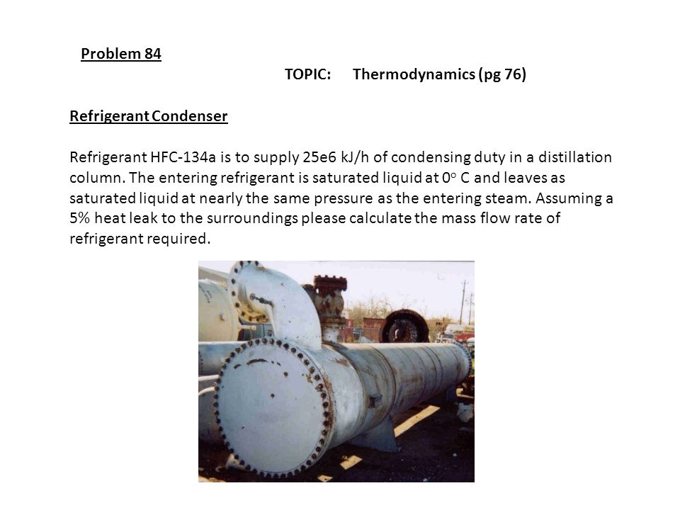 Problem 84 TOPIC: Thermodynamics (pg 76) Refrigerant Condenser.