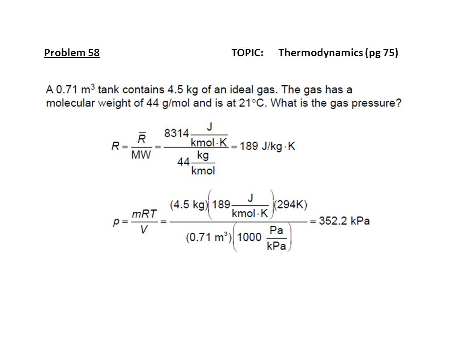 Problem 58 TOPIC: Thermodynamics (pg 75)