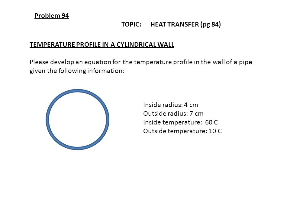 Problem 94 TOPIC: HEAT TRANSFER (pg 84) TEMPERATURE PROFILE IN A CYLINDRICAL WALL.