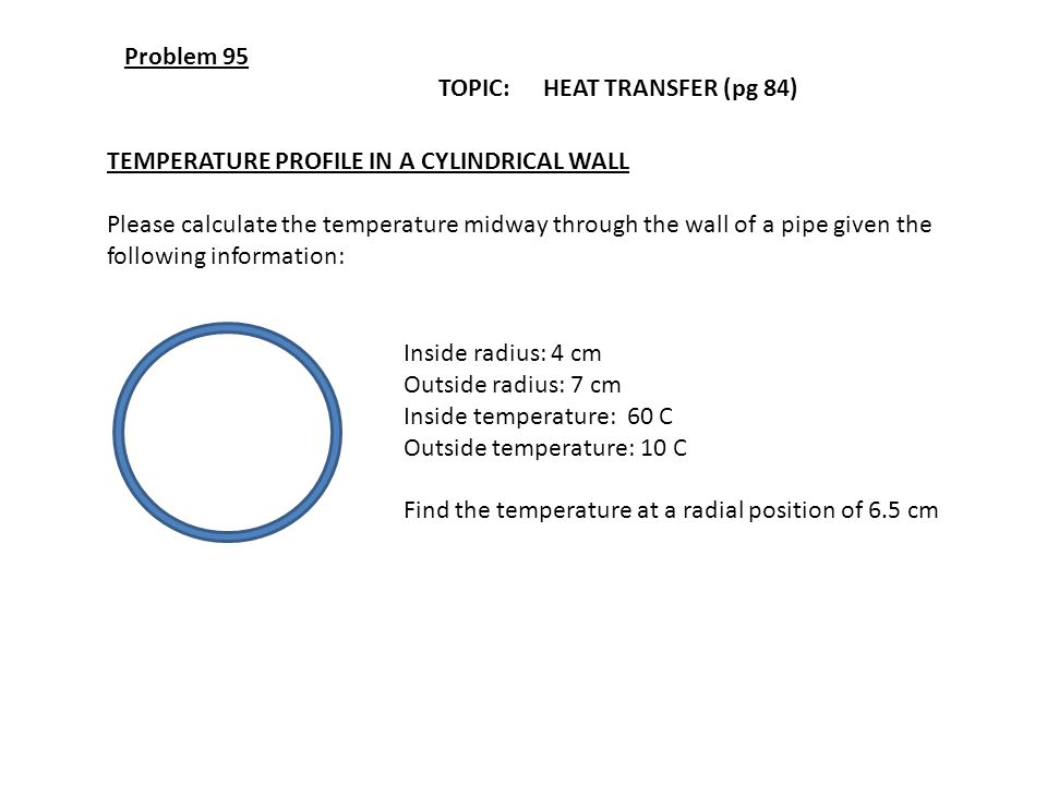 Problem 95 TOPIC: HEAT TRANSFER (pg 84) TEMPERATURE PROFILE IN A CYLINDRICAL WALL.