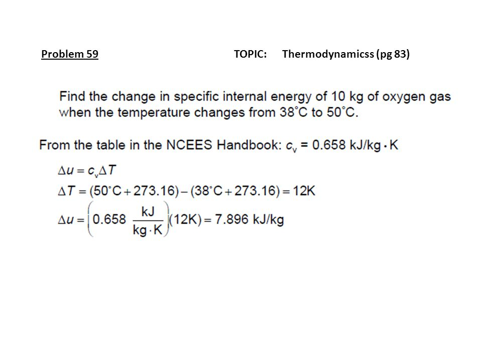 Problem 59 TOPIC: Thermodynamicss (pg 83)