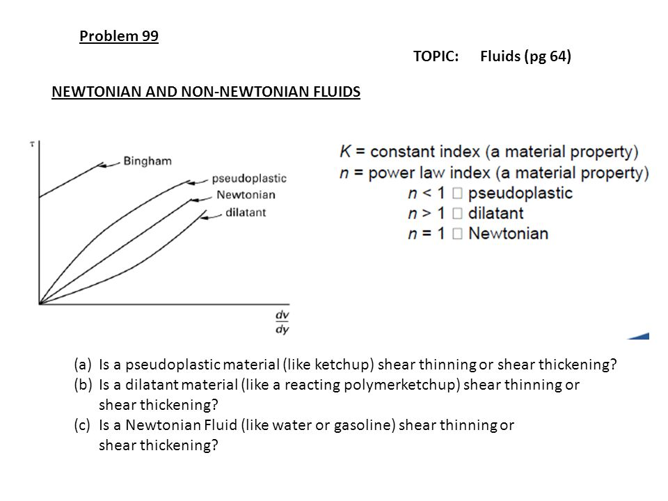 Problem 99 TOPIC: Fluids (pg 64) NEWTONIAN AND NON-NEWTONIAN FLUIDS.