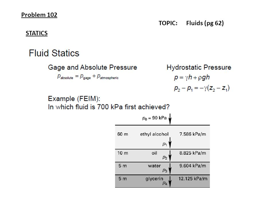 Problem 102 TOPIC: Fluids (pg 62) STATICS