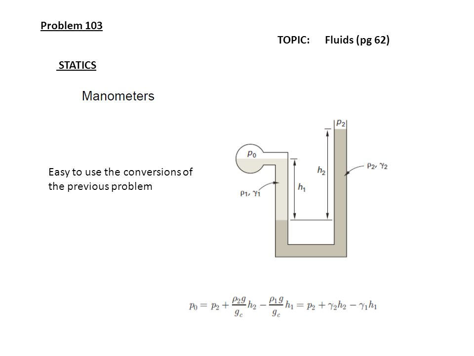 Problem 103 TOPIC: Fluids (pg 62) STATICS Easy to use the conversions of the previous problem