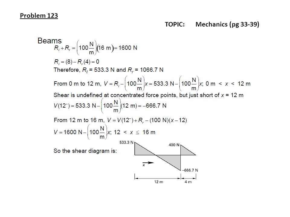 Problem 123 TOPIC: Mechanics (pg 33-39)