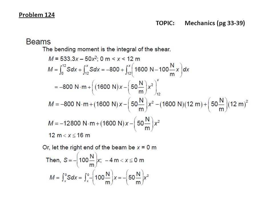 Problem 124 TOPIC: Mechanics (pg 33-39)