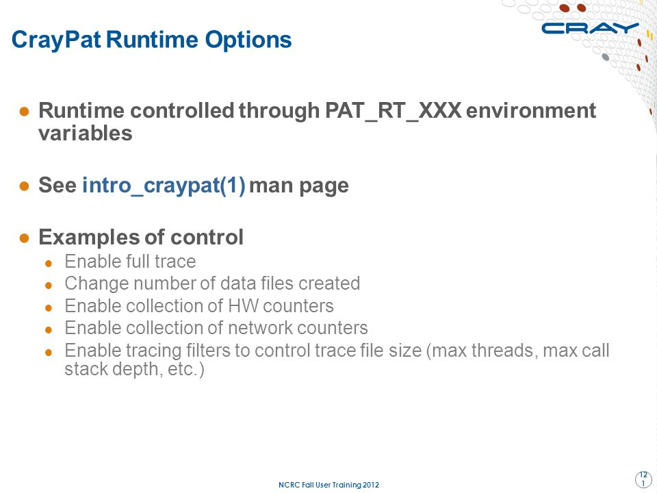 CrayPat Runtime Options