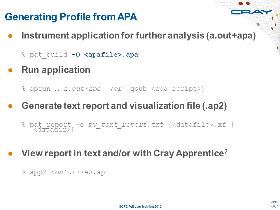 Generating Profile from APA