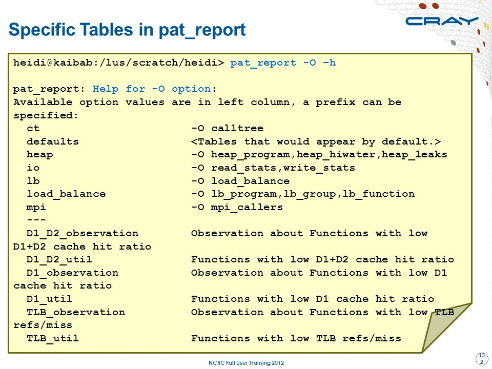 Specific Tables in pat_report