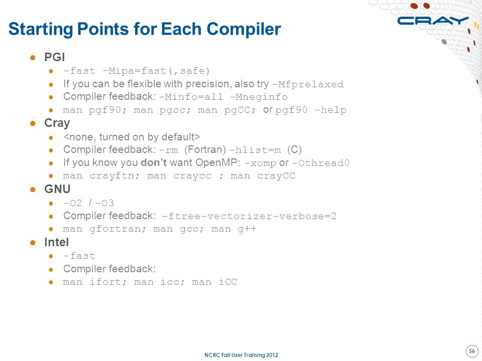 Starting Points for Each Compiler
