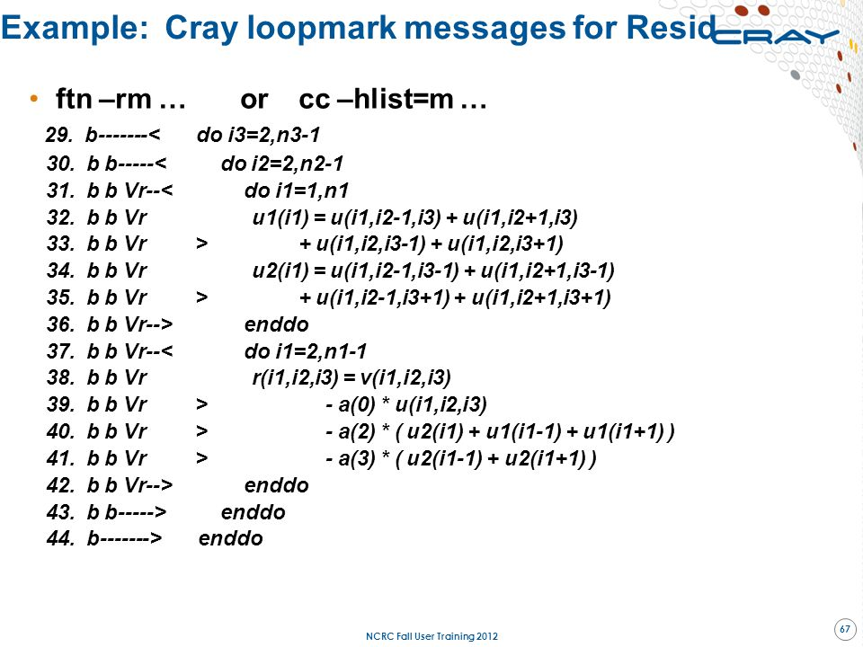 Example: Cray loopmark messages for Resid