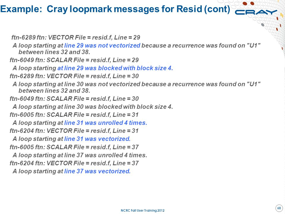 Example: Cray loopmark messages for Resid (cont)