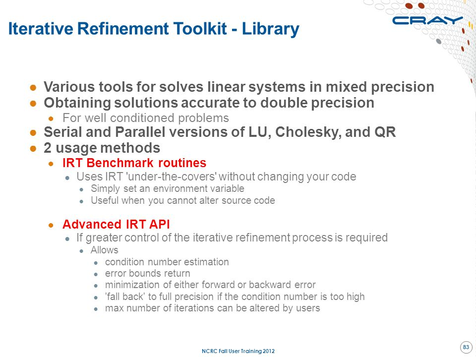 Iterative Refinement Toolkit - Library