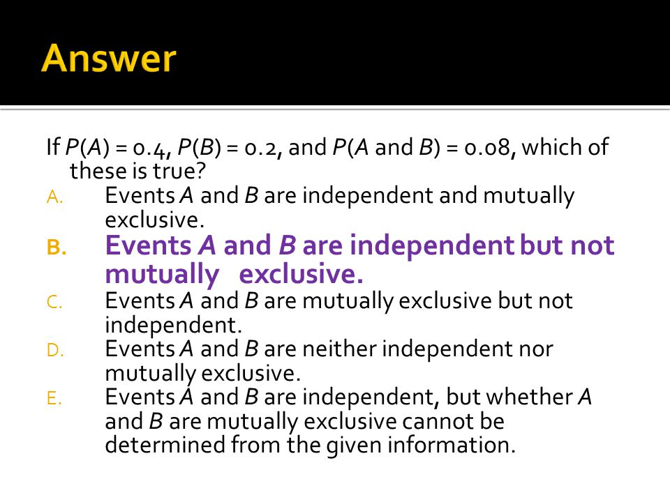 Answer Events A and B are independent but not mutually exclusive.