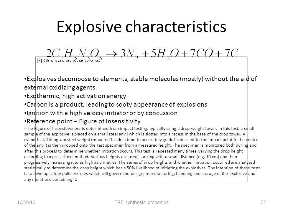 Explosive characteristics