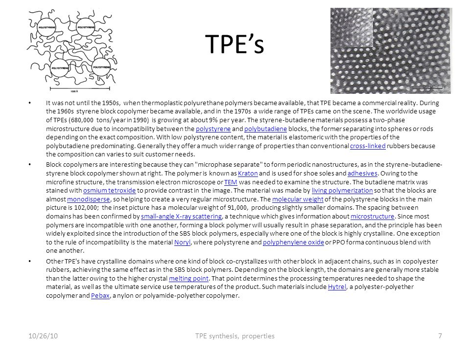 TPE synthesis, properties