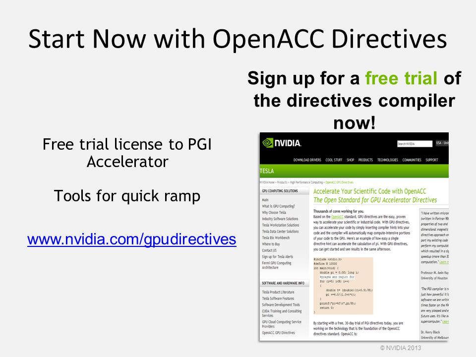 Start Now with OpenACC Directives