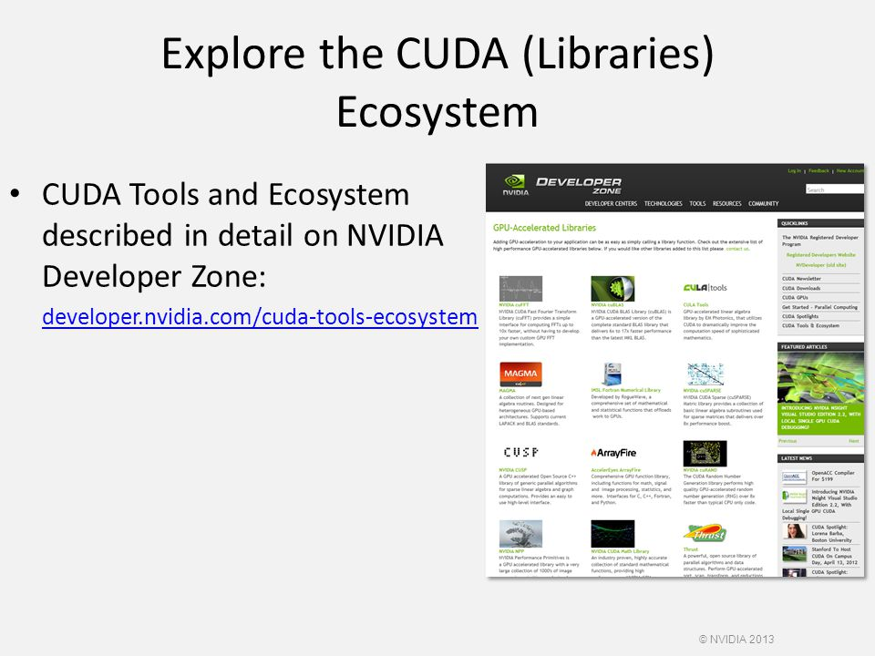 Explore the CUDA (Libraries) Ecosystem